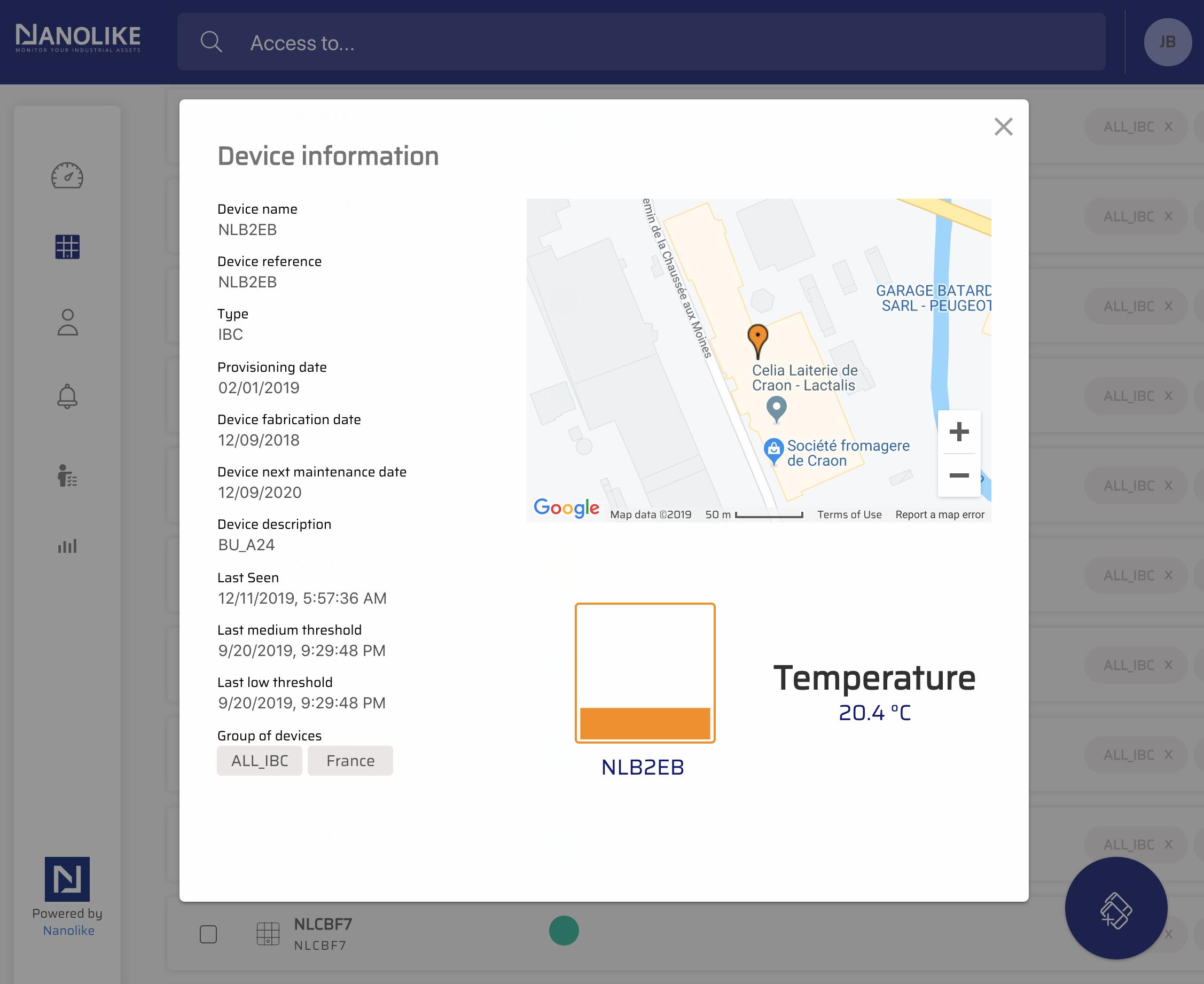 screenshot nanolike platform detail view IBC
